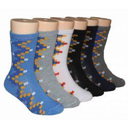 480 Units of Boys Cubes Design Crew Socks - Boys Crew Sock