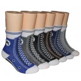 480 Units of Boys Sneaker Print Crew Socks - Boys Crew Sock