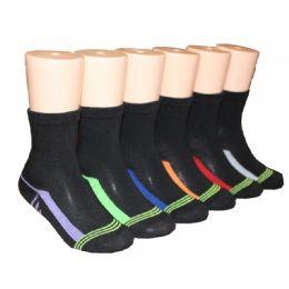 480 Units of Boys Solid Black Color Crew Socks With Color Stripe Bottom - Boys Crew Sock