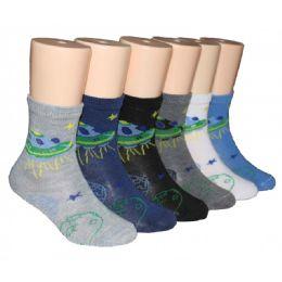 480 Units of Boys UFO Design Crew Socks - Boys Crew Sock