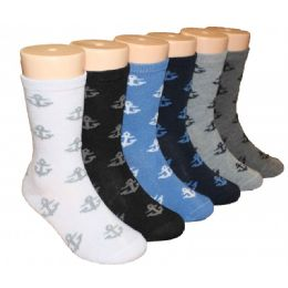 480 Units of Boys Anchor Design Crew Socks - Boys Crew Sock
