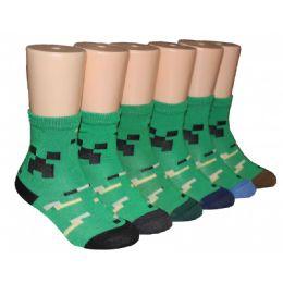 480 Units of Boys Retro Graphic Print Crew Socks - Boys Crew Sock