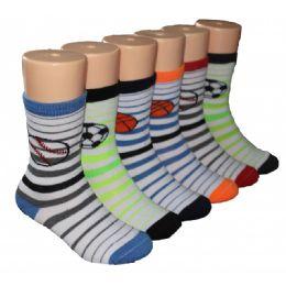 480 Units of Boys Sports Print Crew Socks - Boys Crew Sock