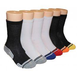 480 Units of Boys Black and White Crew Socks With Stripe Toe - Boys Crew Sock