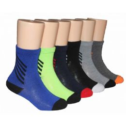 480 Units of Boys Solid Crew Socks With Stripe Ankle - Boys Crew Sock