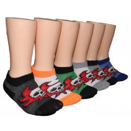 480 Units of Boys Skull Design Low Cut Ankle Socks - Boys Ankle Sock