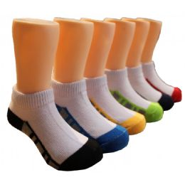 480 Units of Boys White Low Cut Ankle Socks With Color Design Bottom - Boys Ankle Sock