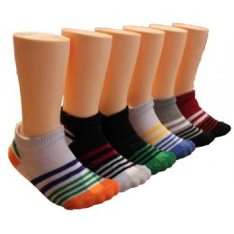 480 Units of Boys Striped Low Cut Ankle Socks - Boys Ankle Sock