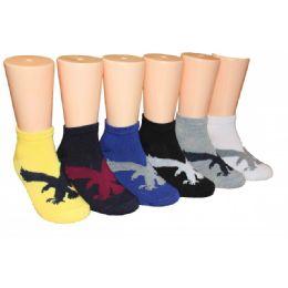 480 Units of Boys Hawk Print Low Cut Ankle Socks - Boys Ankle Sock