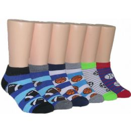 480 Units of Boys Assorted Sport Prints Low Cut Ankle Socks - Boys Ankle Sock