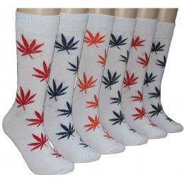 288 Units of Men's Colorful Marijuana Leaf Crew Socks - Mens Crew Socks