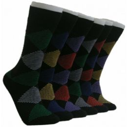 288 Units of Men's Striped Design Crew Socks - Mens Crew Socks