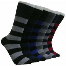 288 Units of Men's Striped Crew Socks - Mens Crew Socks