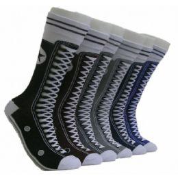 288 Units of Men's Sneaker Print Crew Socks - Mens Crew Socks