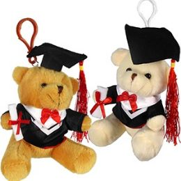 60 Units of Plush Graduation Bear Zipper Pull Keychains - Graduation