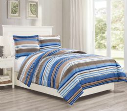 12 Units of 3 Pieces Mini Set In FULL/QUEEN - Blue Stripes Design - Comforters & Bed Sets