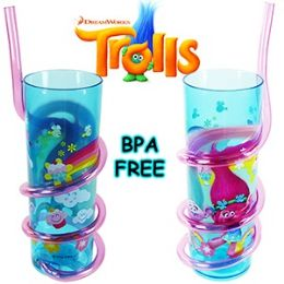 24 Units of Dreamworks Trolls Acrylic Silly Straw Tumblers. - Plastic Drinkware