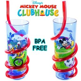 24 Units of Disney's Mickey's Clubhouse Acrylic Silly Straw Tumblers - Plastic Drinkware