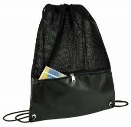 48 Units of Drawstring Mesh Backpack W/zipper Pocket - Draw String & Sling Packs