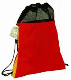 48 Units of Drawstring Poly Backpack W/mesh Closure - Backpacks