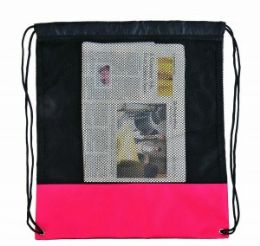 72 Units of Drawstring Poly-Mesh Backpack - Bags Of All Types