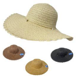 36 Units of Ladies Woven Summer Hat [seashell Band] Scalloped Edge - Sun Hats