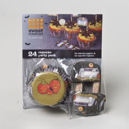 72 Units of Halloween Cupcake Baking Paper 24ct With toppers - Baking Supplies
