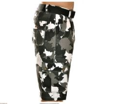 12 Units of MEN'S FASHION CARGO CAMO SHORTS CAMOUFLAGE BLACK ONLY - Mens Shorts