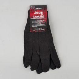 144 Units of Gloves Black Jersey Boss Mens Large 8oz Carded - Knitted Stretch Gloves