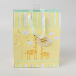 90 Units of Gift Bag Baby Large Vertical W/tissue Yellow Jungle - Gift Bags Baby