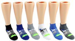 24 Units of Boy's Low Cut Novelty Socks - Paint Splatter Print - Size 6-8 - Boys Ankle Sock