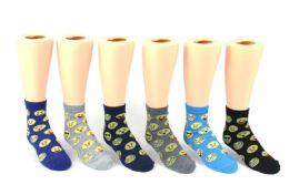 24 Units of Kid's Novelty Ankle Socks - Emoji Print - Size 4-6 - Boys Ankle Sock