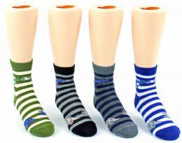 24 Units of Kid's Novelty Ankle Socks - Striped Dinosaur Print - Size 4-6 - Boys Ankle Sock