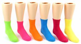24 Units of Kid's Novelty Ankle Socks - Solid Neon Colors - Size 4-6 - Boys Ankle Sock