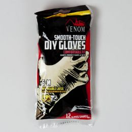 96 Units of Gloves 12ct Latex S-M Smooth Touch Disposable Venom Brand - Kitchen Gloves