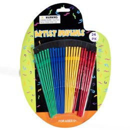 72 Units of 24pc Plastic Artist Craft/paint Brush - Paint, Brushes & Finger Paint
