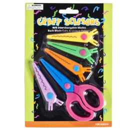 72 Units of Plastic Craft Scissors W/4 Bonus Interchangable Decor Edge - Scissors