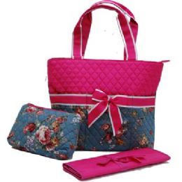 """12 Units of """"Ori-Ori"""" Quilted Mommy Bag Rose - Tote Bags & Slings"""