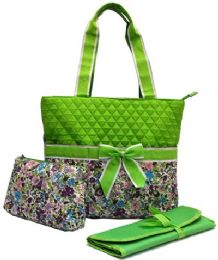 """12 Units of """"Ori-Ori"""" Quilted Mommy Bag Purple Flower - Tote Bags & Slings"""