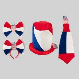 36 Units of Patriotic Dressup Ast Velvet Hat Jumbo Hdband/tie Or Bowtie 4ast 9-12in - 4th Of July