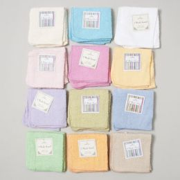 144 Units of Wash Cloths 2 Pack 12 X 12 Assorted Colors - Towels