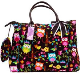 """12 Units of """"Ori-Ori"""" Quilted Large Tote bag w/purse Owl - Tote Bags & Slings"""