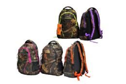 """12 Units of 19"""" Hunting Backpack with Purple trim - Backpacks"""