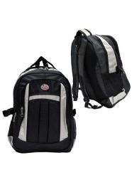 """12 Units of 19"""" Deluxe Laptop Backpack-Gray/Black - Backpacks"""