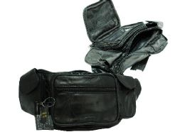 12 Units of Leather Large Fanny Pack-Black - Tote Bags & Slings