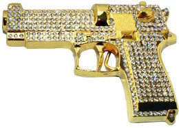12 Units of Golden Rhinestone Gun Belt Buckle - Belt Buckles