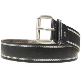 36 Units of Mens Black Belt With White Stitching - Mens Belts