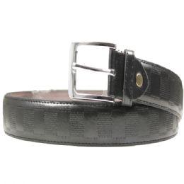 36 Units of Men's Black Belt With Design - Mens Belts