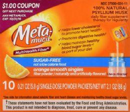 100 Units of Meta-mucil MultiHealth Fiber, 10 Pkts - Pain and Allergy Relief