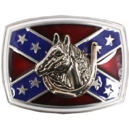 24 Units of Rebel Flag With Horse Belt Buckle - Belt Buckles